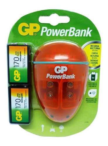 Baterías 9 voltios con cargador marca gp + 2 baterías
