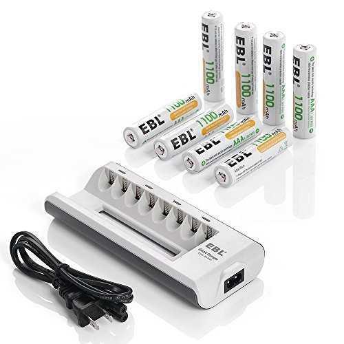 Cargador de batería recargable ebl aa y aaa con pilas