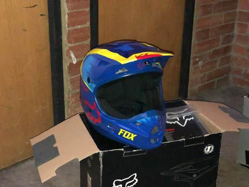 Casco fox motocross enduro v1 azul
