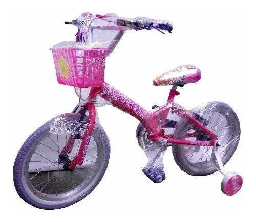 Bicicleta cross rin 16 llantas auxiliares niña canasta