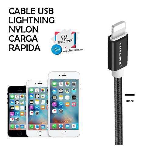 Cable lightning iphone certificado nylon carga rápida 2 mts