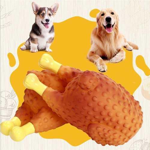 Juguete para perros mordedor encias chillon forma pollo mnr