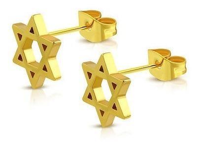 Pendientes de botón con estrella judía dorada en oro