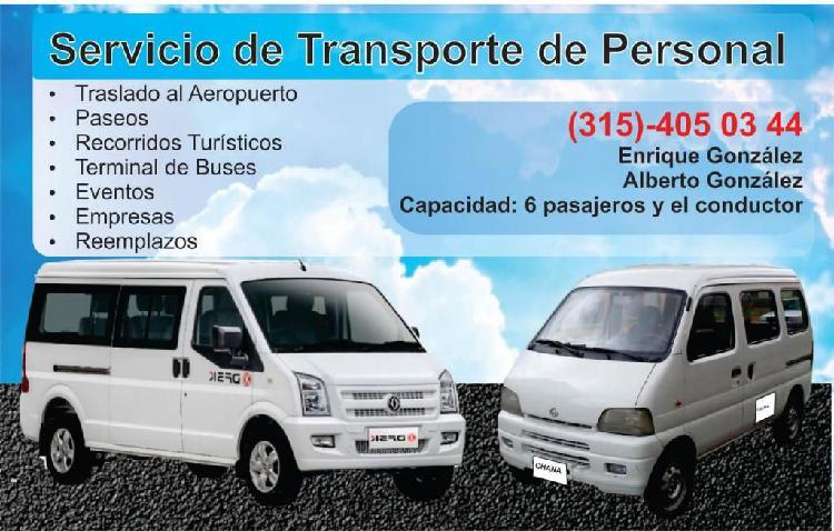 Servicio de transporte (315)-405-03-44 capacidad: 6