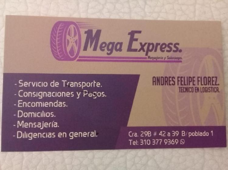 Servicios de mensajería (mega express)