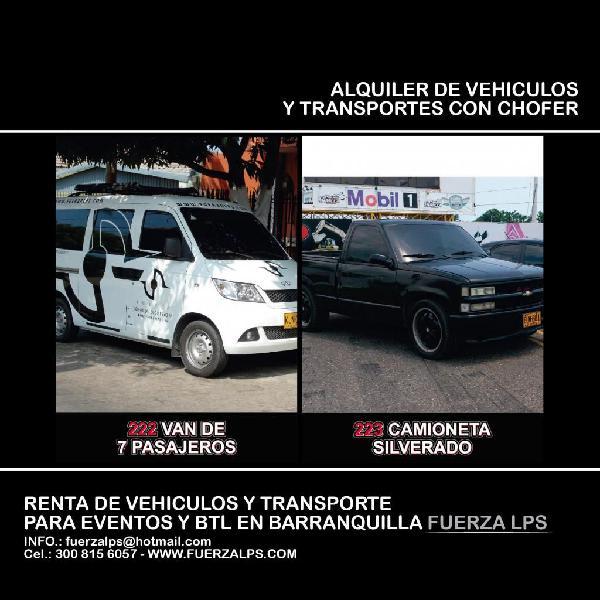 Vans y transporte en alquiler para turismo y eventos en la
