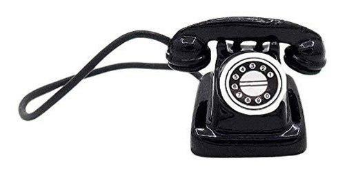 Odoria 1:12 miniatura retro negro teléfono con receptor