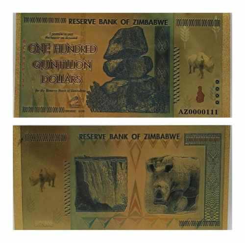 Billete 100 quintillion dollars zimbabwe gold