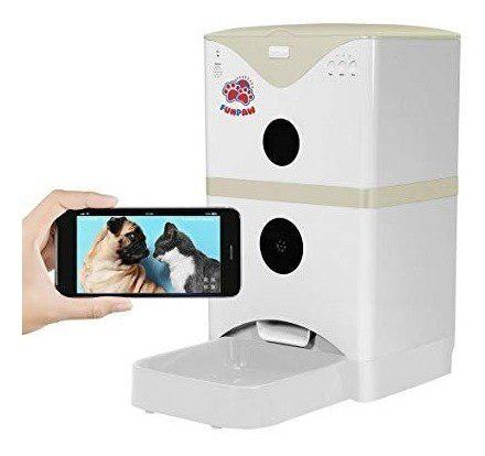6l gato perro mascota alimentador automático cámara wifi