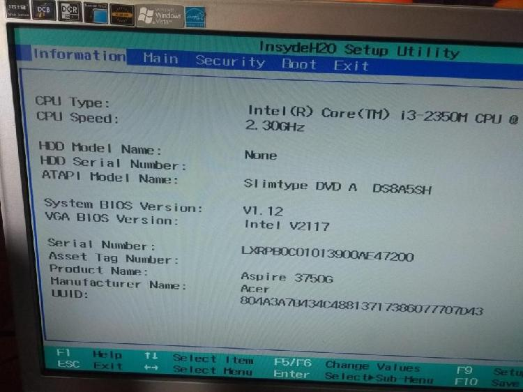Acer aspire 3750g modelo eih30 para reparar o repuestos