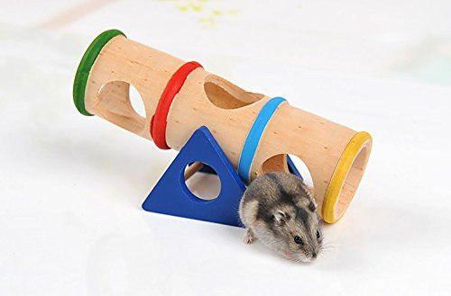 Hamster juguete de madera balancín túnel colorido jaula c