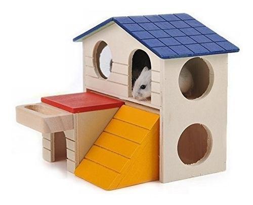 Hamter casa de madera villa jaula ejercicio juguete hámster