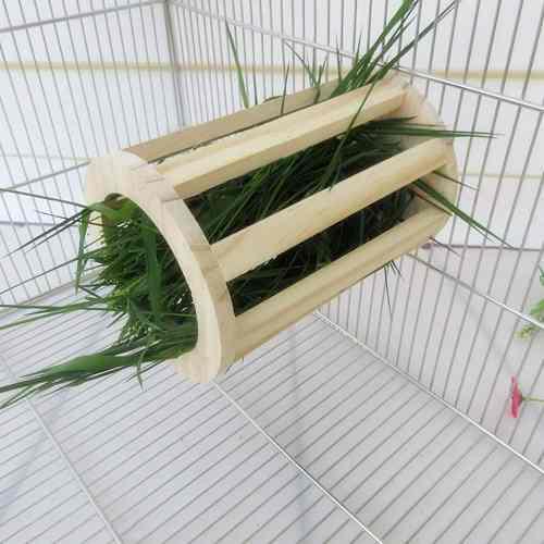 Alimentador de heno de madera natural conejo alimentad...