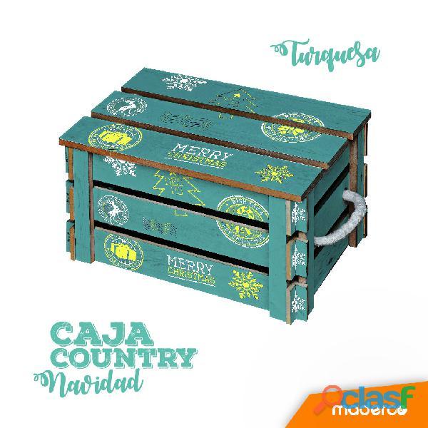 Caja de madera para ancheta navideña estilo vintage en colores