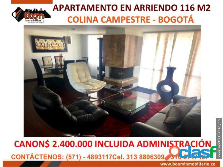 *arriendo apartamento 116 m2 colina campestre