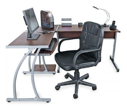 Escritorio centro de trabajo en l + silla gerencial
