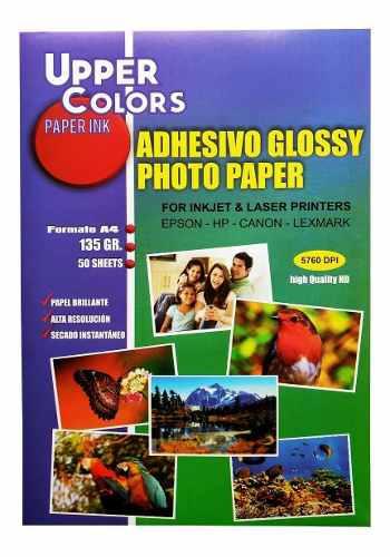 Papel fotográfico adhesivo brillante autoadhesivo x 50