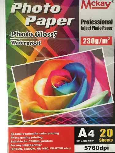 Papel fotográfico brillante 230 gr 20 hojas a4/carta