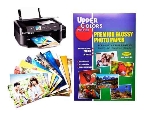 Papel fotográfico grueso 240 gr kit x 12 paquetes x 240 h