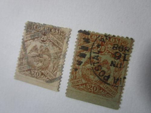2 Estampilla Antigua Republica De Colombia 1898 Escudo 20c