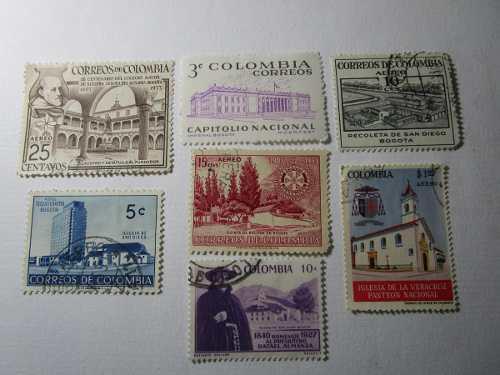Lugares Emblematicos Bogota Souvenir Lote 7 Estampilla A19 *