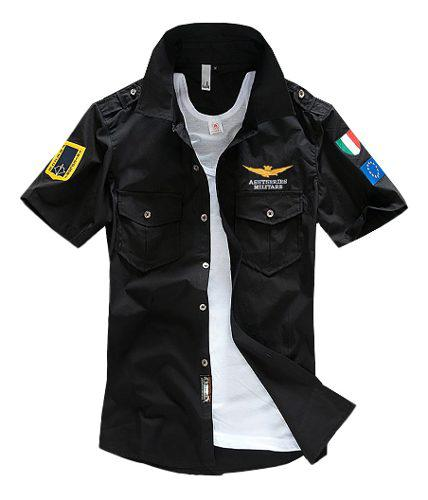 Camisa De Algodón Bordada Militar Piloto De Hombre