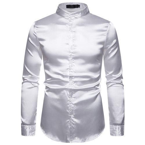 Camisa De Manga Larga De Satén De Seda Para Hombre Camiseta