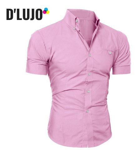 Camisas hombre manga corta slim fit ropa elegante calidad