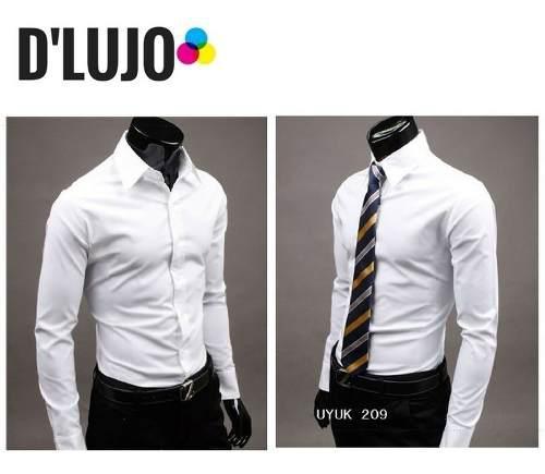 Camisas hombre manga larga slim fit ropa elegante calidad