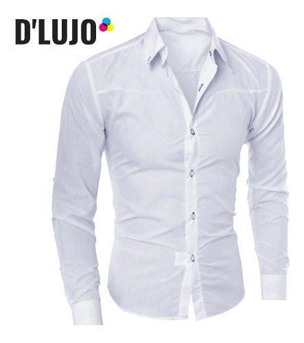 Camisas hombre manga larga slim fit ropa elegante nuevas