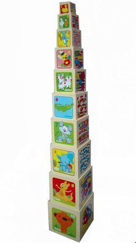 Cubos didácticos en madera x10 und 7290 niños juguete