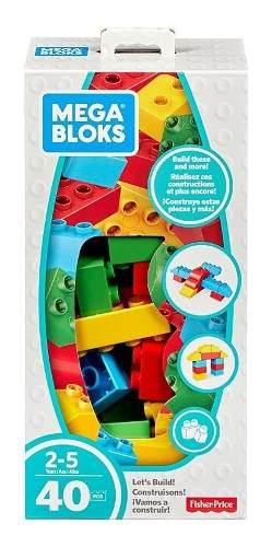 Fisher price caja de 40 piezas mega bloks bloques juguetes