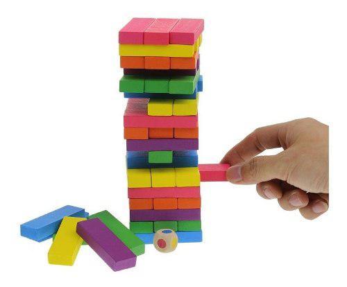 Jenga grande colores 48 piezas woodytoys remate! mnr