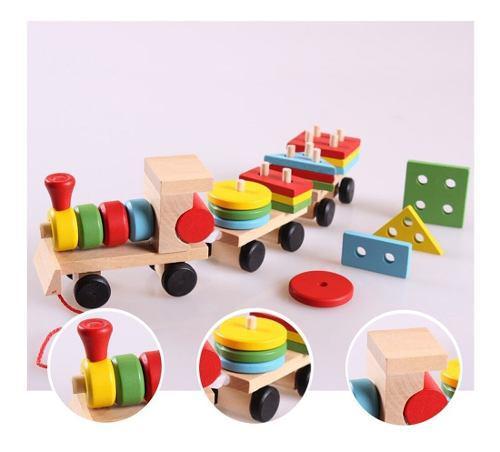 Juego Didactico Tren Madera Figuras Geometricas Montessori