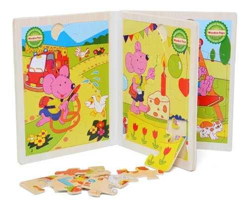 Libro rompecabezas juegos didácticos niños madera