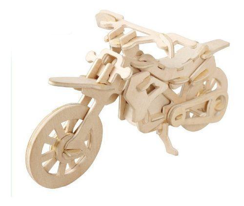Rompecabezas de madera 3d modelo motocicleta motocros