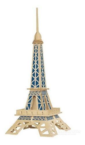 Rompecabezas de madera 3d modelo torre eiffel paris