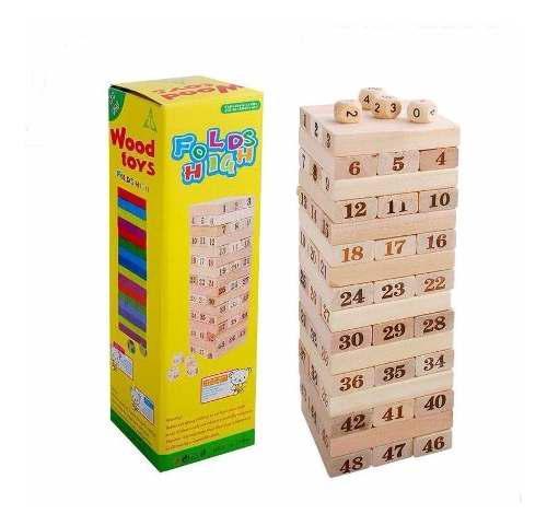 Torre tipo jenga grande madera bloques 48pz dados juego mesa