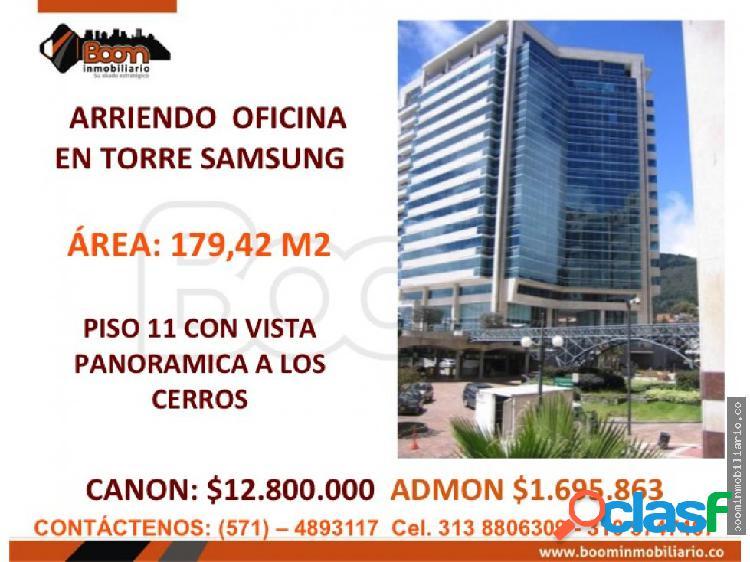 **arriendo oficina 180 m2 torre samsung