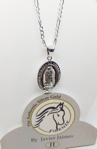 Medalla virgen guadalupe + cadena para mujer plata ley 925