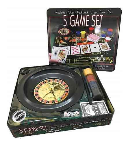 Ruleta casino 5 juegos en 1 black jack poker dados set paño