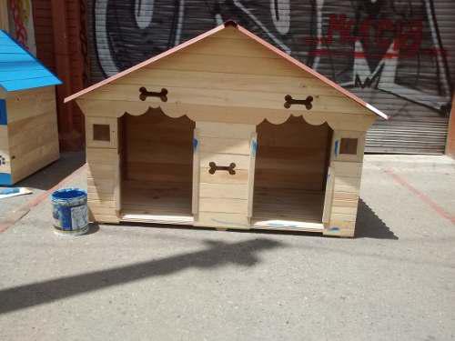 Casa en madera para mascotas doble