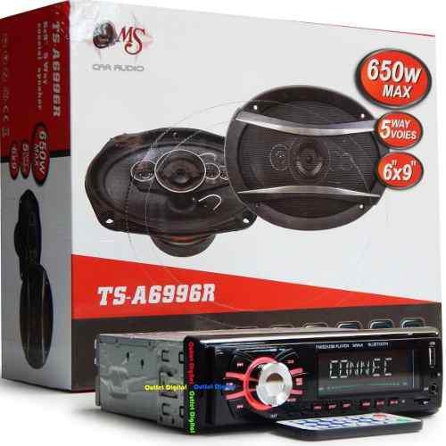 Sonido Para Carro Radio Bluetooth Con Dos Parlantes 6x9