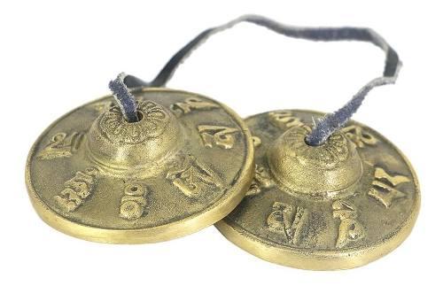 1 Par De Latón Meditación Tibetana Yoga Tingsha Om Mani