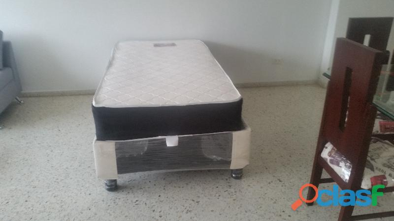 Cama base y colchon resortado 1x1,9mts