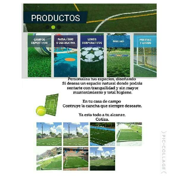 Construcción cancha tennis squash. grama