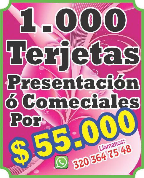 1000 tarjetas presentación x 57000