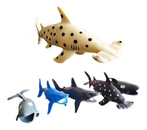 Animales del mar tiburones juguete didáctico x6 juguetería