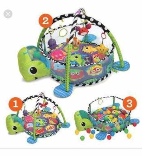 Gimnasio piscina de pelotas para bebe tortuga incluye pelota