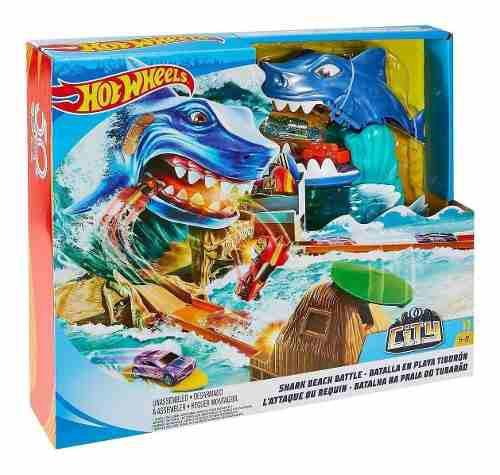 Pista de carros hot wheels batalla en playa tiburon